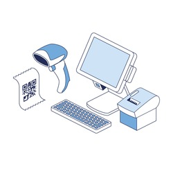 Cash register, scanner, print code. Vector 3d line isometric, color web icons, new flat style. Creative illustration, design idea for infographics.