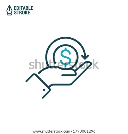 Cashback (cash back) icon. Hand hold coin. Vector outline icon with editable stroke Stock photo ©