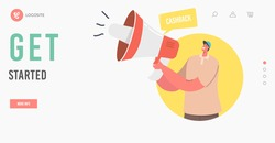 Cashback get Started Landing Page Template. Online Public Relations, Affairs. Man Shouting to Megaphone. Alert Ad Campaign, Propaganda Speech, Pr Social Media Promotion. Cartoon Vector Illustration