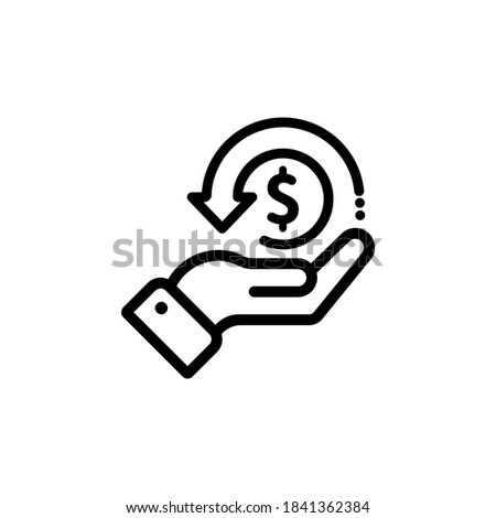 Cashback icon, return money, cash back rebate. Hand hold coin. E commerce and marketing. Vector on isolated white background. EPS 10 Stock photo ©