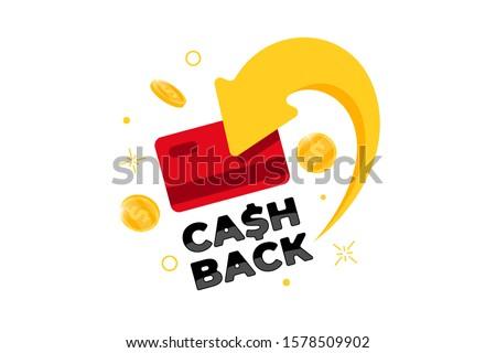 Cashback loyalty program concept. Credit or debit card with returned coins to bank account. Refund money service design. Bonus cash back symbol vector illustration Foto d'archivio ©