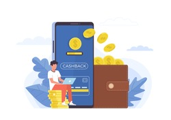 Cashback. Small people and big items coins, huge smartphone and purse, ewallet mobile app, online banking cashback for buyer, customer money refund, financial promotion instrument vector flat concept