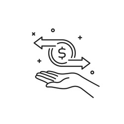 cashflow or money transfer with thin line hand. flat lineart trend modern linear logotype graphic stroke art design element isolated on white background. concept of fast tax deduction or send cost