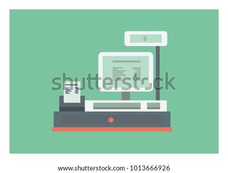 cashier machine simple illustration