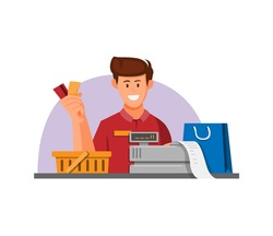 Cashier worker with coupon credit card for payment symbol concept in cartoon illustration vector