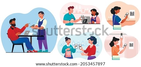 Cashless payment system set. Collection of images on which people pay with cards. Modern technology, cashless transaction, ewallet. Cartoon flat vector illustration isolated on white background
