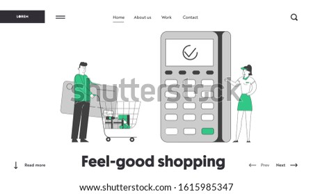 Cashless Payment Website Landing Page. Man Buyer Holding Huge Credit Card Pushing Trolley with Purchases to Cashier Desk with Pos Terminal Web Page Banner. Cartoon Flat Vector Illustration, Line Art