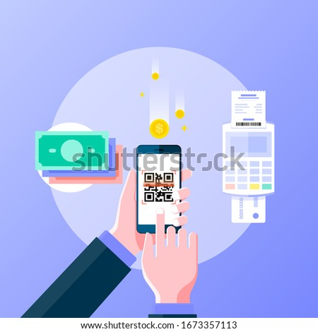 Cashless society flat design banner for web page. Hand holing smartphone pay by scan QR code, cashless payment, online payment and online shopping concept. Vector illustration.