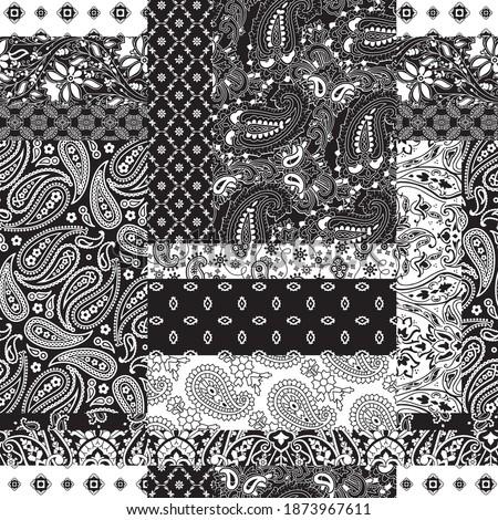 Cashmere paisley bandana fabric patchwork abstract vector seamless pattern wallpaper Сток-фото ©