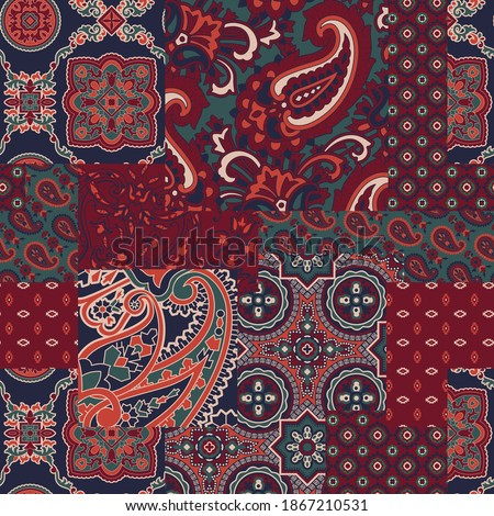cashmere paisley silk fabric patchwork abstract vector seamless pattern wallpaper Сток-фото ©
