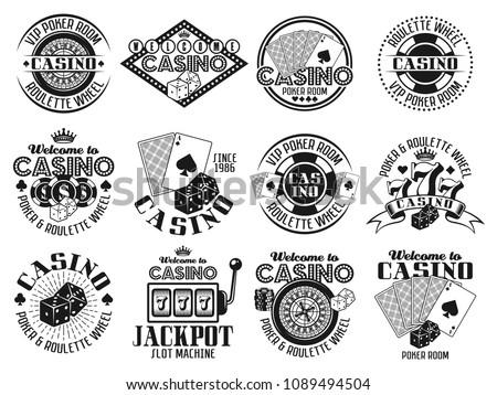 casino and gambling set of...