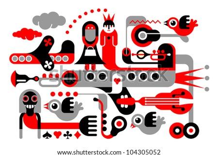 casino art illustration red