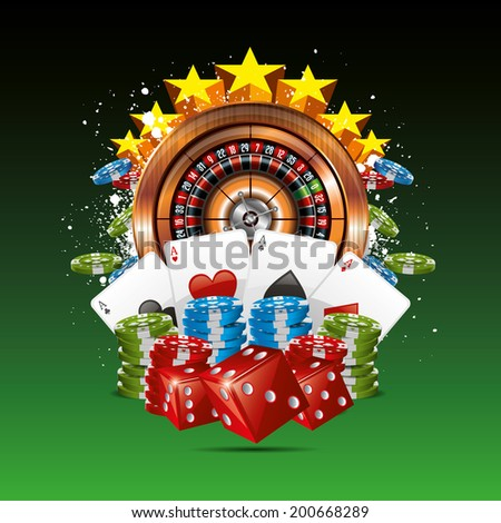 Casino Background with roulette wheel cards and chips