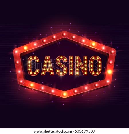 Casino banner on a shining retro billboard. Casino poster vintage style. Vector illustration.