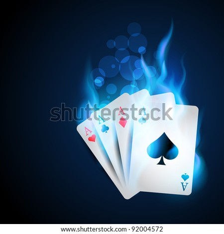 casino blue burning card design