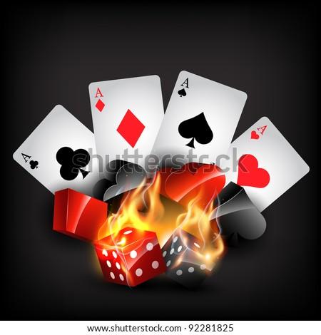 casino cards shape in burning style