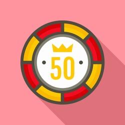 Casino chip 50 icon. Flat illustration of casino chip 50 vector icon for web design