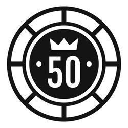 Casino chip 50 icon. Simple illustration of casino chip 50 vector icon for web design isolated on white background
