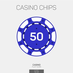 Casino chip 50 points color icon