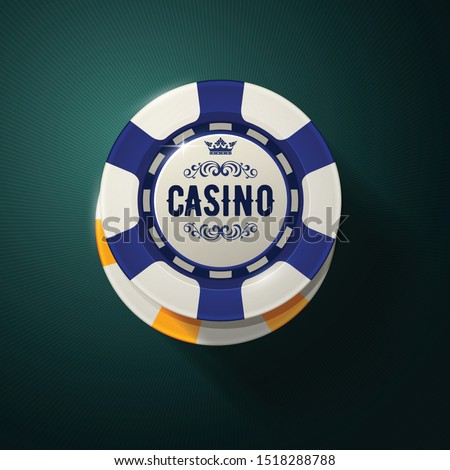 Casino chip top view - gambling chips with crown, roulette game
