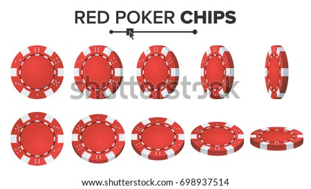 Casino Chip Vector. Red Poker Chips Set. 3D Realistic Plastic Gambling Sign Isolated On White Background. Flip Different Angles. Jackpot 777, Token Coin, Success Illustration.