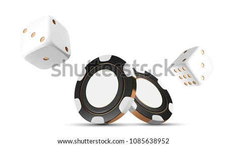 Casino chips and dice isolated on white. Casino game 3D chips. Online casino banner. Black realistic chip. Gambling concept, poker mobile app icon. Chips falling in the air.