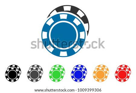 Casino Chips icon. Vector illustration style is a flat iconic casino chips symbol with grey, yellow, green, blue, red, black color versions. Designed for web and software interfaces.