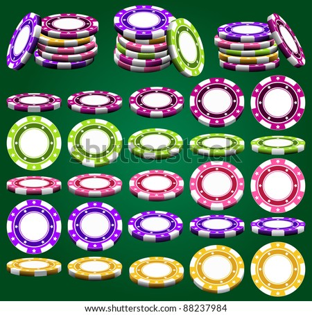 Casino chips in different foreshortening and colors in vector, isolated over green
