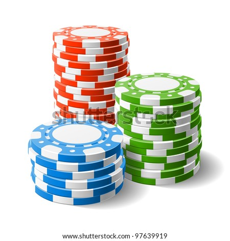 casino chips stacks vector