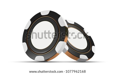 Casino chips vector isolated on white. Casino game 3D chips. Online casino banner. Black chip. Gambling concept, poker mobile app icon.
