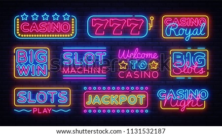 Casino collection Neon signs vector design template. Casino neon logo, light banner design element colorful modern design trend, night bright advertising, bright sign. Vector illustration