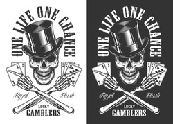 Casino concept with skull in cylinder hat. Vector illustration