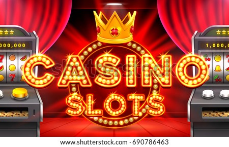 Casino 3d slot machines win the jackpot, Scene background art. Vector illustration