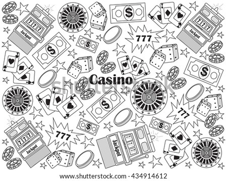 Casino design colorless set vector illustration. Coloring book. Black and white line art