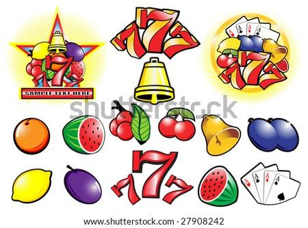 Casino design elements vector collection