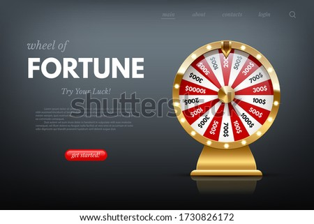 Casino fortune wheel sitepage template. Shiny lucky number wheeling roulette. Gambling industry, entertainment, hobby concept. Design for online poker room, website, mobile app ストックフォト ©