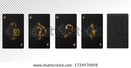 Casino gambling poker blackjack - playing cards isolated on transparent background. Vector illustration ストックフォト ©