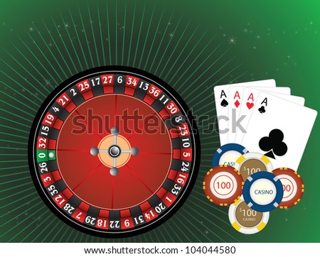 Casino Gambling, Roulette Wheel, Casino Chips, and Four Aces Cards, vector illustration