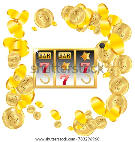Casino. Golden slot machine wins the jackpot. Big win concept. Casino jackpot. Vector illustration