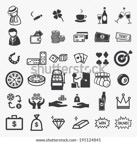 casino icons set illustration