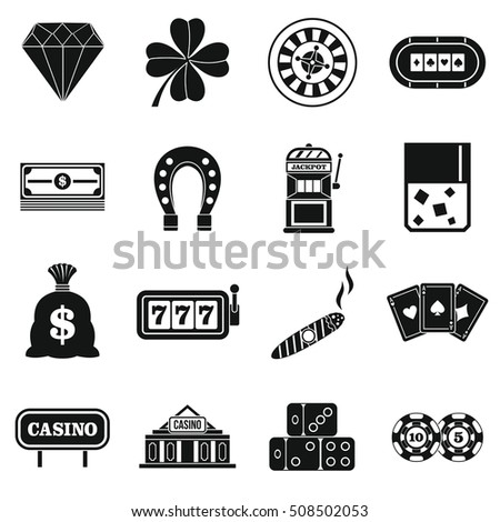 Casino icons set. Simple illustration of 16 casino vector icons for web