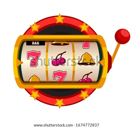 Casino jackpot slot machine isolated on white background. One arm gambling device with seven, cherry, bell on line. Luck game and success, chance and gamble. Lottery lucky fortune. Vector illustration