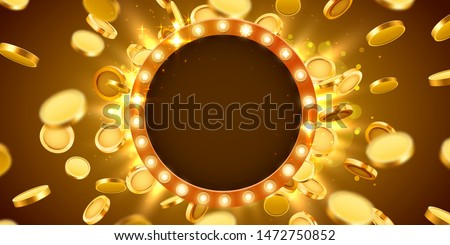 Casino lamp frame with gold realistic 3d coins background. Vector illustration