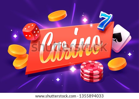 Casino lettering isolated on violet background with casino icons. Vector illustration