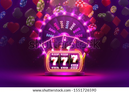 Casino neon colorful fortune wheel, Neon slot machine, Playing Cards wins the jackpot. Vector illustration Stockfoto ©