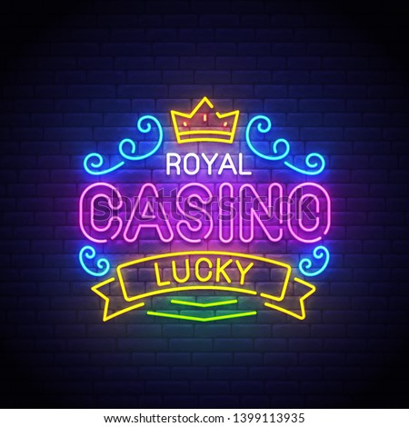 Casino neon sign, bright signboard, light banner. Casino Royal logo, emblem. Casino label. Vector illustration