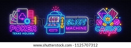 Casino Neon sign collection design vector template. Casino, Poker Night Logo, Slot Machine, Bright Neon Signboard, Design Element for Casino, Gambling Neon, Bright Night Advertising. Vector