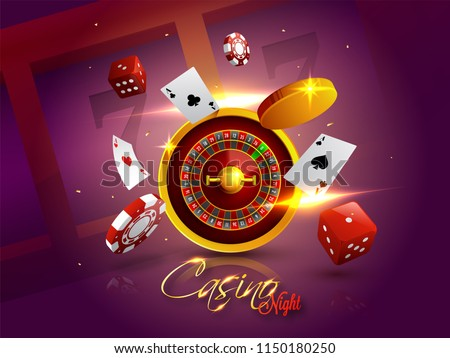 Casino Night background with 3D Chips, Coins, Dice, Roulette Wheel and Playing cards on shiny purple background.