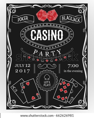 Casino party invitation on chalkboard with decorative elements. Vintage vector illustration