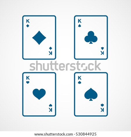 Casino Playing Card Four Kings Blue Line Icon On White Background